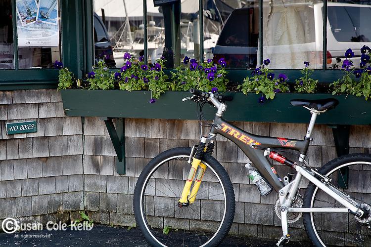 Bike parked on Bannister Wharf, Newport, Narragansett Bay, RI, USA