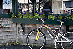 Bike parked on Bannister Wharf, Newport, Narragansett Bay, RI, USA