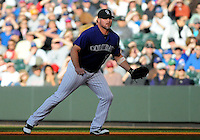 16 APRIL 2011: Colorado Rockies first baseman Jason Giambi (23)  during a regular season game between the Chicago Cubs and the Colorado Rockies at Coors Field in Denver, Colorado. The Bubs beat the Rockies 8-3.   *****For Editorial Use Only*****