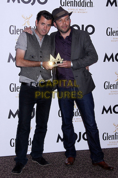 Danny O'Connor & Mark Gardiner.The Glenfiddich MOJO Honours List award ceremony, the Brewery, Chiswell St., London, England..July 21st, 2011.full length grey gray waistcoat hat award trophy trophies winner winners jeans denim suit jacket hat.CAP/COA/CC.©CC/COA/Capital .