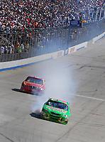 Sept. 21, 2008; Dover, DE, USA; Nascar Sprint Cup Series driver Kyle Busch blows an engine during the Camping World RV 400 at Dover International Speedway. Mandatory Credit: Mark J. Rebilas-