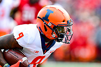 College Park, MD - OCT 27, 2018: Illinois Fighting Illini wide receiver Sam Mays (9) runs the football during game between Maryland and Illinois at Capital One Field at Maryland Stadium in College Park, MD. The Terrapins defeated Illinois to move to 5-3 on the season. (Photo by Phil Peters/Media Images International)