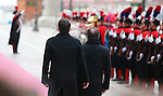 French President Francois Hollande (R) and Italian Prime Minister and Democratic Party (PD) leader Matteo Renzi arrive at Doge's Palace for the 33th Italo-French summit, in Venice on March 8, 2016.