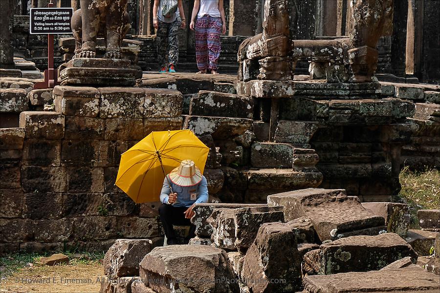 Sunstruck Guard, Angkor Thom, Cambodia.