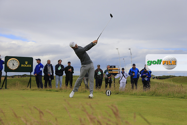 Jordan Spieth (USA) tees off the 15th tee during Sunday's Round 3 of the 144th Open Championship, St Andrews Old Course, St Andrews, Fife, Scotland. 19/07/2015.<br /> Picture Eoin Clarke, www.golffile.ie
