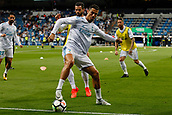 1st October 2017, Santiago Bernabeu, Madrid, Spain; La Liga football, Real Madrid versus Espanyol; Jose I Fernandez Iglesias (6) Real Madrid Pre-match warm-up Cristiano Ronaldo dos Santos (7) Real Madrid