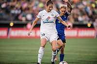 Seattle, WA - Sunday, September 24th, 2017: Yael Averbuch and Jess Fishlock  during a regular season National Women's Soccer League (NWSL) match between the Seattle Reign FC and FC Kansas City at Memorial Stadium.
