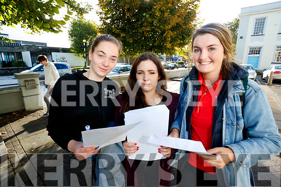 Gaelchólaiste Chiarraí students who received their Junior Certificate results on Wednesday morning last were l-r: Sarah Nic Gearailt, Leah Ní Sheanacháin and Anna Ni Griffín.