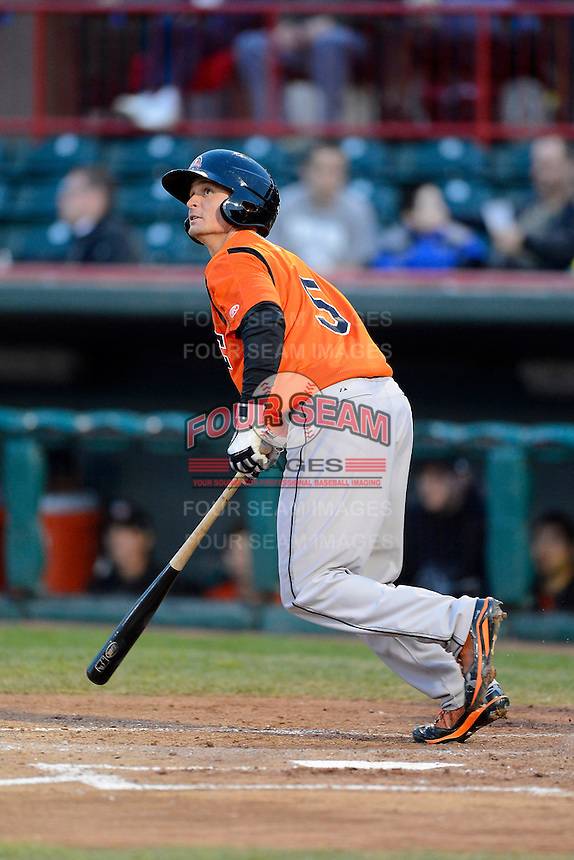 Bowie Baysox second baseman Buck Britton #5 during a game against the Erie Seawolves on April 23, 2013 at Jerry Uht Park in Erie, Pennsylvania.  Erie defeated Bowie 4-1.  (Mike Janes/Four Seam Images)