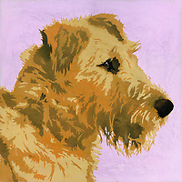 Painting of Irish Terrier dog