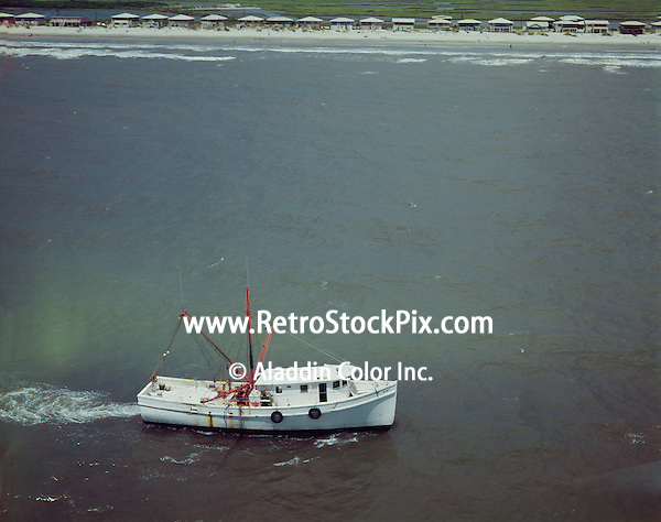 Airview of a fishing boat just off the coast of Myrtle Beach S.C
