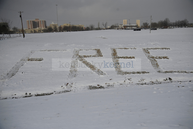 """FREE ENES"" sign carved into the snow at Alumni Drive in Lexington, Ky., on 12/6/10. . Photo by Mike Weaver 