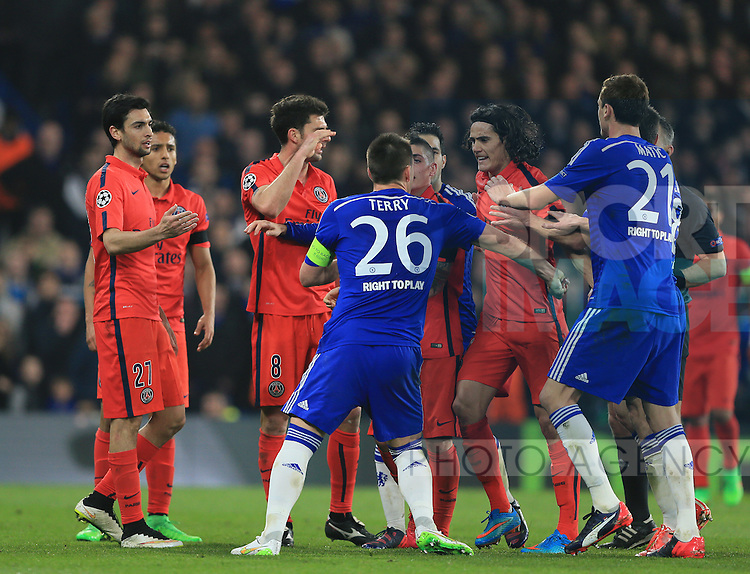 Chelsea's John Terry tussles with PSG's Edinson Cavani<br /> <br /> Champions League Round of 16 Second leg- Chelsea vs Paris Saint-Germain  - Stamford Bridge - England - 11th March 2015 - Picture David Klein/Sportimage
