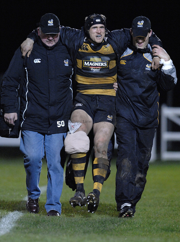 Photo: Richard Lane..London Wasps A v Bath Rugby A. Guinness A League. 19/03/2007. .Wasps' Garth Chamberlain leaves the field injured.