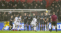 Renato Sanches of Swansea City hits a free kick during the Premier League match between Swansea City and Tottenham Hotspur at the Liberty Stadium, Swansea, Wales on 2 January 2018. Photo by Mark Hawkins / PRiME Media Images.
