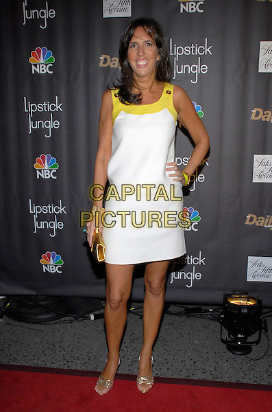 "LIZ LANG.Celebration for the premiere of NBC's new drama series ""Lipstick Jungle"" hosted by NBC, Saks Fifth Avenue and IMG's ""The Daily Front Row"" at Saks Fifth Avenue, New York, New York, USA, 31 January 2008..full length white yellow shift dress hand on hip.CAP/ADM/BL.?Bill Lyons/AdMedia/Capital Pictures. *** Local Caption ***"