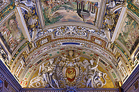 Ceiling fresco in the Hall of Maps, Vatican Museum, Vatican City, Rome, Italy