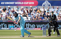Chris Wakes (England) pushes into the on side during England vs New Zealand, ICC World Cup Cricket at The Riverside Ground on 3rd July 2019