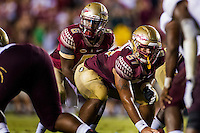TALLAHASSEE, FLA. 9/5/15-Florida State University quarterback Everett Golson prepares to take a snap from Corey Martinez during first half action against Texas State University at Doak Campbell Stadium in Tallahassee.<br /> <br /> COLIN HACKLEY PHOTO