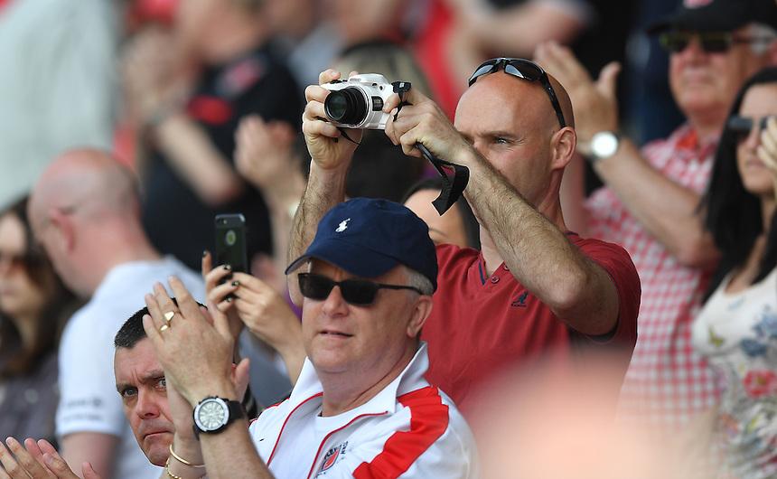 Fleetwood fans<br /> <br /> Photographer Dave Howarth/CameraSport<br /> <br /> Football - The Football League Sky Bet League One - Fleetwood Town v Crewe Alexandra - Sunday 8th May 2016 - Highbury Stadium - Fleetwood    <br /> <br /> &copy; CameraSport - 43 Linden Ave. Countesthorpe. Leicester. England. LE8 5PG - Tel: +44 (0) 116 277 4147 - admin@camerasport.com - www.camerasport.com