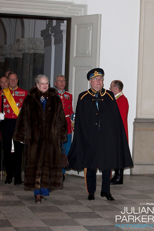 Queen Margrethe of Denmark, and Prince Henrik, attend the Grand New Years Court at Christiansborg Palace, in Copenhagen, Denmark.