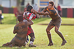 Ross Turnbull gets collared by Joe Nanai & John Penberthy. Counties Manukau Premier Club Rugby game between Patumahoe & Karaka played at Patumahoe on Saturday June 13th 2009. Patumahoe lead 8 - 0 at halftime and went on to win 20 - 0.