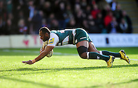 Vereniki Goneva of Leicester Tigers scores a try in the first half. Aviva Premiership match, between Northampton Saints and Leicester Tigers on April 16, 2016 at Franklin's Gardens in Northampton, England. Photo by: Patrick Khachfe / JMP