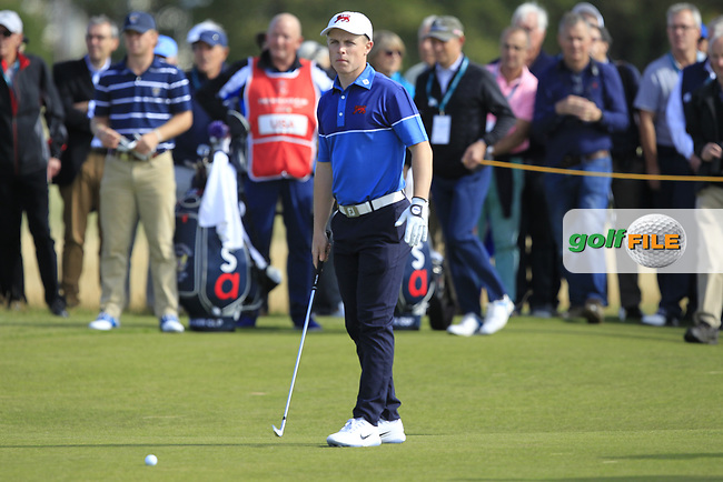Conor Purcell (GB&I) on the 17th during the Foursomes at the Walker Cup, Royal Liverpool Golf CLub, Hoylake, Cheshire, England. 07/09/2019.<br /> Picture Thos Caffrey / Golffile.ie<br /> <br /> All photo usage must carry mandatory copyright credit (© Golffile | Thos Caffrey)