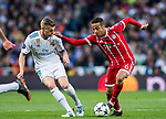 Thiago Alcantara (R) of FC Bayern Munich battles for the ball with Toni Kroos of Real Madrid during the UEFA Champions League Semi-final 2nd leg match between Real Madrid and Bayern Munich at the Estadio Santiago Bernabeu on May 01 2018 in Madrid, Spain. Photo by Diego Souto / Power Sport Images