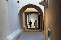 A narrow street with archways in the medina or old town of Tetouan on the slopes of Jbel Dersa in the Rif Mountains of Northern Morocco. Tetouan was of particular importance in the Islamic period from the 8th century, when it served as the main point of contact between Morocco and Andalusia. After the Reconquest, the town was rebuilt by Andalusian refugees who had been expelled by the Spanish. The medina of Tetouan dates to the 16th century and was declared a UNESCO World Heritage Site in 1997. Picture by Manuel Cohen