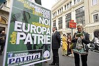 Roma, 9 Aprile 2014<br /> Largo Goldoni<br /> La Lega nord raccoglie firme per presentare 5 Referendum per l'abrogazione della legge Merlin sulla prostituzione, la legge Mancino sui reati di opinione, l'abolizione delle Prefetture, l'abolizione della possibilità per gli stranieri di partecipare a concorsi pubblici e l'abolizione della legge Fornero sulle pensioni.<br /> Basta Euro, Europa delle Patrie<br /> The Northern League collects signatures to present 5 referendum to repeal the law on prostitution Merlin, the Mancino law on crimes of opinion, the abolition of the Prefectures, the abolition of the possibility for foreigners to take part in public competitions and the abolition of Fornero Law on pensions.
