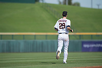Mesa Solar Sox center fielder Kyle Tucker (29), of the Houston Astros organization, jogs onto the field between innings of a game against the Salt River Rafters on October 18, 2017 at Sloan Park in Mesa, Arizona. The Rafters defeated the Solar Sox 6-5.(Zachary Lucy/Four Seam Images)