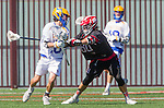 Santa Barbara, CA 04/16/16 - Gunner Aceves (Chapman #22) and Alex Dixon (UCSB #18) in action during the final regular MCLA SLC season game between Chapman and UC Santa Barbara.  Chapman defeated UCSB 15-8. in action during the final regular MCLA SLC season game between Chapman and UC Santa Barbara.  Chapman defeated UCSB 15-8.