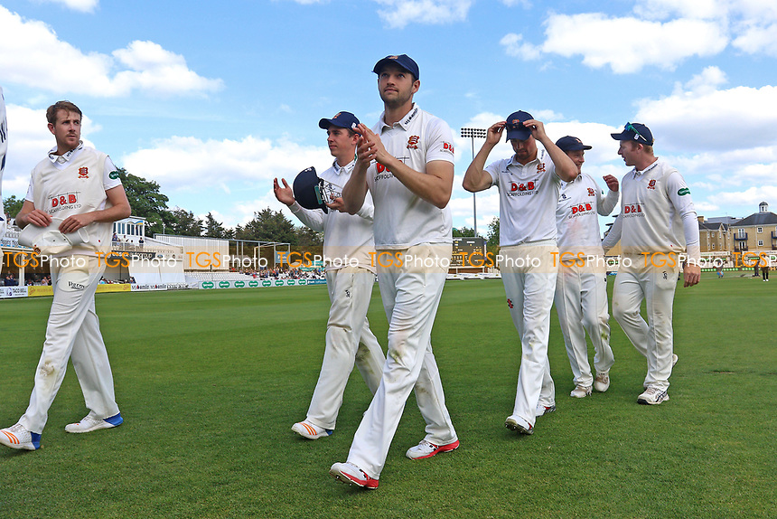 Nick Browne of Essex leaves the field with his Essex team mates after victory during Essex CCC vs Hampshire CCC, Specsavers County Championship Division 1 Cricket at The Cloudfm County Ground on 21st May 2017