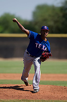 Texas Rangers pitcher Miguel Medrano (28) delivers a pitch to the plate during an Instructional League game against the San Diego Padres on September 20, 2017 at Peoria Sports Complex in Peoria, Arizona. (Zachary Lucy/Four Seam Images)