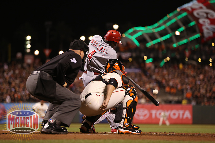 SAN FRANCISCO - OCTOBER 7:  Brandon Phillips of the Cincinnati Reds bats during Game 2 of the NLDS against the San Francisco Giants at AT&T Park on October 7, 2012 in San Francisco, California. (Photo by Brad Mangin)