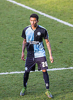 Jerell Sellars (Loanee from Aston Villa) of Wycombe Wanderers on his league debut during the Sky Bet League 2 match between Wycombe Wanderers and Mansfield Town at Adams Park, High Wycombe, England on 25 March 2016. Photo by Andy Rowland.