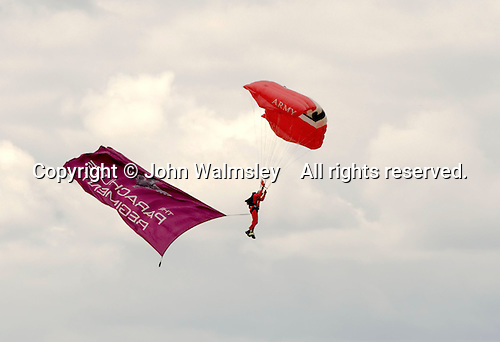 British Army's Red Devils display team from the Parachute Regiment at the Farnborough International Airshow