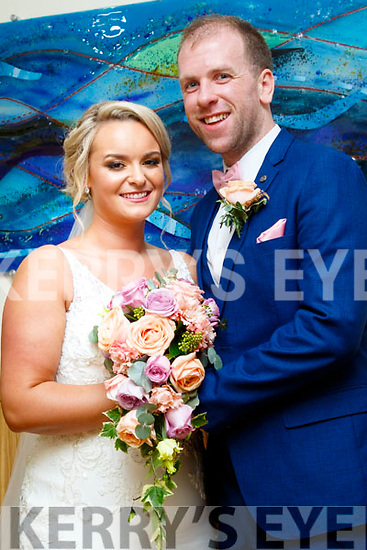 Sharon Houlihan, daughter of Margaret&the late Kevin, Glenbeigh and Peter O'Sullivan, son of Peadar&Mary, also Glenbeigh who married last Saturday, October 21st in St James church, Glenbeigh with Fr Kieran O'Sullivan officiating. Bestman was Eoghan O'Sullivan, groomsmen were Aiden O'Shea and Darren O'Sullivan. 1st bridesmaid was Michelle Houlihan, others were Grainne Foley and Megan Houlihan. The reception was in the Ballyroe Heights hotel, Tralee and the couple will reside in Glenbeigh.