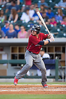 Andrew Knapp (15) of the Lehigh Valley Iron Pigs at bat against the Charlotte Knights at BB&T BallPark on June 3, 2016 in Charlotte, North Carolina.  The Iron Pigs defeated the Knights 6-4.  (Brian Westerholt/Four Seam Images)