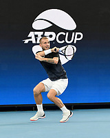 7th January 2020; Sydney Olympic Park Tennis Centre, Sydney, New South Wales, Australia; ATP Cup Australia, Sydney, Day 5; Great Britain versus Moldova; Daniel Evans of Great Britain versus Radu Albot of Moldova; Daniel Evans of Great Britain watches his forehand to Radu Albot of Moldova - Editorial Use