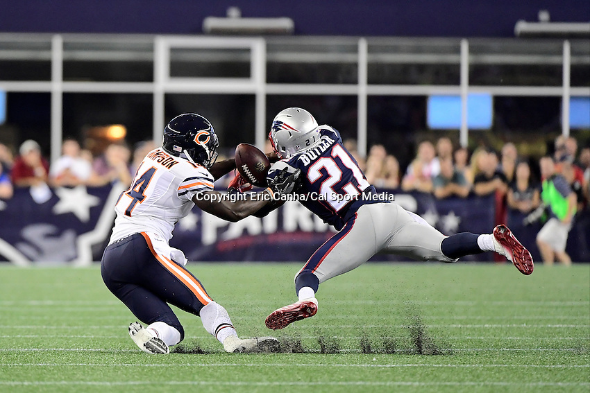 Thursday, August 18 2016: New England Patriots cornerback Malcolm Butler (21) breaks up a pass to Chicago Bears wide receiver Deonte Thompson (14) during a pre-season NFL game between the Chicago Bears and the New England Patriots held at Gillette Stadium in Foxborough Massachusetts. The Patriots defeat the Bears 23-22 in regulation time. Eric Canha/Cal Sport Media