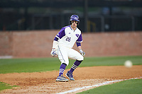 Sam Zayicek (28) of the High Point Panthers takes his lead off of third base against the Campbell Camels at Williard Stadium on March 16, 2019 in  Winston-Salem, North Carolina. The Camels defeated the Panthers 13-8. (Brian Westerholt/Four Seam Images)
