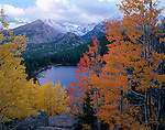 autumn, fall, Bear Lake, evening, Longs Peak, Rocky Mountain National Park, Colorado