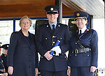 7/3/2016.   Minister for Justice and Equality Frances Fitzgerald and the Garda Commissioner Noirin O'Sullivan at the Garda graduations in the the Garda College Templemore presenting the Ned Joy International Police Association Scholarship to Garda Céin Dempsey, Newbridge who will be stationed in Rathmines.    Photograph: Liam Burke/Press 22