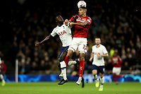 14th January 2020; Tottenham Hotspur Stadium, London, England; English FA Cup Football, Tottenham Hotspur versus Middlesbrough; Davinson Sánchez of Tottenham Hotspur competes for the ball with Ashley Fletcher of Middlesbrough - Strictly Editorial Use Only. No use with unauthorized audio, video, data, fixture lists, club/league logos or 'live' services. Online in-match use limited to 120 images, no video emulation. No use in betting, games or single club/league/player publications