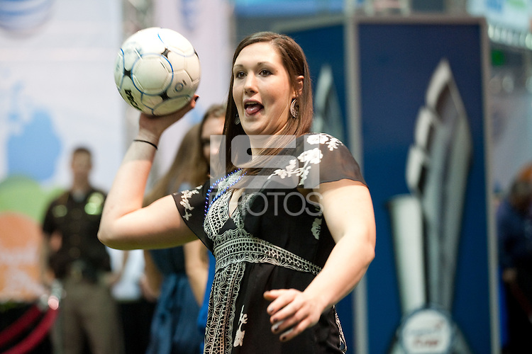 INDIANAPOLIS, IN - APRIL 1, 2011: Sarah Boothe enjoys the festivities at the Cirque du Salute at the Indianapolis Convention Center at Tourney Town during the NCAA Final Four in Indianapolis, IN on April 1, 2011.