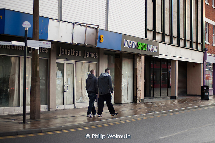 Empty shops and business premises in the centre of Doncaster.
