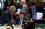 Brussels-Belgium - June 29, 2012 -- European Council, EU-summit meeting of Heads of State / Government; here, Mariano RAJOY BREY (ce), Prime Minister of Spain, assisted by his Head of Cabinet, Jorge MORAGAS (ri) and Alfonso DASTIS QUECEDO (le), Ambassador Extraordinary and Plenipotentiary Permanent Representative of Spain to the EU -- Photo: © HorstWagner.eu