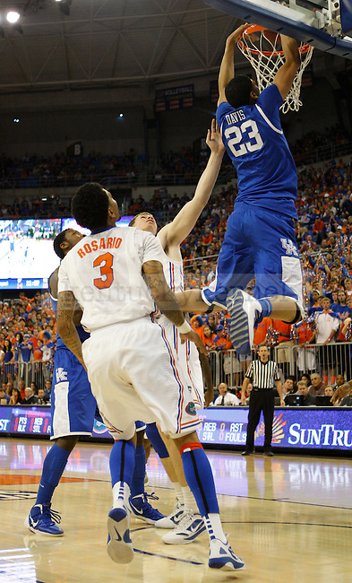 UK forward Anthony Davis dunks the ball during the first half of the University of Kentucky's men basketball game against University of Florida 3/4/12 at the O'Connell Center in Gainesville, Fl. Photo by Quianna Lige | Staff